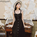 Dress Spring 2021 black S M L Mid length dress singleton  Sleeveless Sweet One word collar High waist Solid color Single breasted A-line skirt routine straps 18-24 years old Type H Fan Weier 8586-1 More than 95% brocade other Other 100% solar system Pure e-commerce (online only)