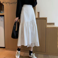 skirt Spring 2021 Average size White black Mid length dress Sweet High waist Irregular Solid color Type A 18-24 years old More than 95% Fan Weier other Asymmetry Other 100% Pure e-commerce (online only) solar system