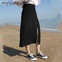 skirt Spring 2020 S M L Black Khaki Mid length dress Sweet High waist A-line skirt Solid color Type A 18-24 years old T2043-1 More than 95% Fan Weier other Asymmetry Other 100% Pure e-commerce (online only) college