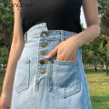 skirt Summer of 2019 S M L XL wathet Mid length dress Sweet High waist A-line skirt Solid color Type A 18-24 years old More than 95% Denim Fan Weier other Other 100% Pure e-commerce (online only) college