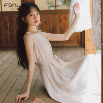 Dress Summer 2021 Apricot red blue black S M L XL longuette singleton  Sleeveless Sweet other High waist Solid color Socket other other Others 18-24 years old Type A Fan Weier bow More than 95% other other Other 100% solar system Pure e-commerce (online only)