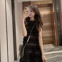 Dress Summer 2021 black S,M,L,XL Middle-skirt singleton  Sleeveless commute Crew neck High waist Solid color A-line skirt routine Type A Korean version Gouhua hollowed out, splicing, three-dimensional decoration, celebrity small fragrance
