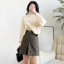skirt Autumn 2020 S,M,L,XL,XXL Golden coffee Short skirt commute High waist A-line skirt other Type A D3346 30% and below Sheepskin Bea-hea / American English wool Ol style