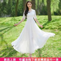 Dress Summer 2020 White, black S,M,L,XL,2XL,3XL longuette singleton  elbow sleeve Sweet V-neck middle-waisted Solid color zipper Big swing routine Others Type A Zipper, lace ML—023 More than 95% Chiffon Bohemia