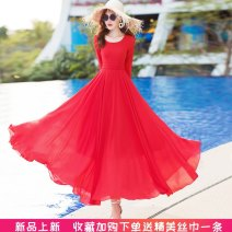 Dress Summer of 2019 S,M,L,XL,2XL,3XL longuette singleton  Long sleeves commute Crew neck middle-waisted Solid color zipper routine Others Type X Simplicity 91% (inclusive) - 95% (inclusive) Chiffon