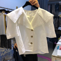 shirt white S,M,L,XL Summer 2020 other 51% (inclusive) - 70% (inclusive) Short sleeve commute Regular Single row multi button 18-24 years old Straight cylinder Korean version