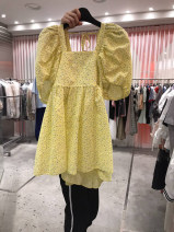 Dress Summer 2021 Yellow, pink S,M,L,XL Mid length dress singleton  Short sleeve commute square neck High waist other Socket A-line skirt puff sleeve 18-24 years old Type A Korean version 51% (inclusive) - 70% (inclusive) other