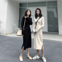 Dress Winter 2020 Black apricot S M L XL longuette singleton  Long sleeves commute Crew neck High waist Solid color Socket Irregular skirt routine 25-29 years old Love fame and elegance Korean version Bandage GZ24301 More than 95% knitting other Other 100% Pure e-commerce (online only)