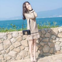 Dress Winter 2020 Black apricot S M L XL XXL Mid length dress singleton  Long sleeves commute Crew neck Loose waist Solid color Socket Pleated skirt routine Others 18-24 years old Love fame and elegance Korean version Splicing JR222 More than 95% other Other 100% Pure e-commerce (online only)