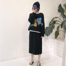 Dress Winter 2020 S M L XL longuette Two piece set Long sleeves street Crew neck High waist Cartoon animation Socket One pace skirt routine Others 25-29 years old Type H Love fame and elegance Patchwork printing More than 95% other Other 100% Pure e-commerce (online only) Europe and America