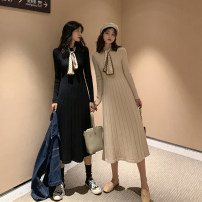 Dress Winter 2020 Black apricot S M L XL longuette singleton  Long sleeves commute Crew neck High waist Solid color Socket A-line skirt routine 18-24 years old Type A Love fame and elegance Splicing XHA4820 More than 95% knitting other Other 100% Pure e-commerce (online only)