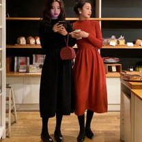 Dress Winter 2020 Red black off white apricot S M L XL Mid length dress singleton  Long sleeves commute Crew neck High waist Solid color Socket A-line skirt routine Others 18-24 years old Type A Love fame and elegance Korean version HYL8169 More than 95% other other Other 100%