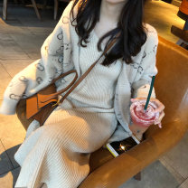 Dress Autumn of 2019 S M L XL Mid length dress Two piece set Long sleeves commute V-neck High waist Solid color Socket A-line skirt Others 18-24 years old Type A Love fame and elegance Korean version pocket More than 95% other Other 100% Pure e-commerce (online only)