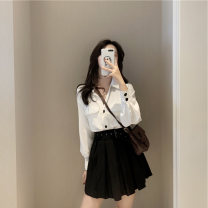 Dress Summer of 2019 S M L XL Short skirt Two piece set Long sleeves Sweet Polo collar High waist Solid color Single breasted Pleated skirt 18-24 years old Type A Love fame and elegance Pleated button More than 95% other Other 100% college Pure e-commerce (online only)