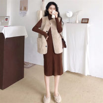 Dress Autumn of 2019 Coffee knitted skirt + Khaki Vest black knitted skirt + dark coffee vest S M L XL longuette Two piece set Long sleeves commute tailored collar High waist Solid color Socket 18-24 years old Type A Love fame and elegance Korean version pocket GZ19080 More than 95% other Other 100%