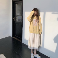 Dress Winter 2020 Two piece jacket + suspender skirt S M L XL longuette Two piece set Long sleeves commute Crew neck High waist Cartoon animation Socket Pleated skirt camisole 18-24 years old Love fame and elegance Korean version printing GZ21231 More than 95% other Other 100%