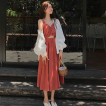 Dress Summer 2020 Orange red white black S M L XL longuette singleton  Long sleeves commute V-neck High waist Solid color Socket A-line skirt camisole 18-24 years old Type A Love fame and elegance backless More than 95% other Other 100% Pure e-commerce (online only)