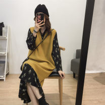 Dress Autumn of 2019 Ginger Sweater Vest + Black Floral Skirt S M L XL Mid length dress Two piece set Long sleeves commute Crew neck High waist Solid color Socket A-line skirt 18-24 years old Type A Love fame and elegance Korean version Splicing WZY7084 More than 95% other Other 100%