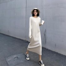 Dress Winter 2020 Black apricot S M L XL longuette singleton  Long sleeves commute Crew neck High waist Solid color Socket A-line skirt 18-24 years old Type A Love fame and elegance lady More than 95% other Other 100% Pure e-commerce (online only)