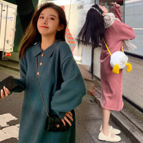Dress Autumn 2020 S M L XL longuette singleton  Long sleeves commute Polo collar Loose waist Solid color Socket Irregular skirt 18-24 years old Type H Love fame and elegance Korean version Stitching buttons More than 95% knitting other Other 100% Pure e-commerce (online only)