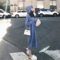 Dress Autumn of 2019 blue S M L XL longuette singleton  Long sleeves commute Hood Loose waist Solid color Socket routine Others 18-24 years old Love fame and elegance Korean version Splicing BJ638 More than 95% knitting other Other 100% Pure e-commerce (online only)