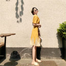Dress Summer of 2019 Yellow top + yellow skirt S M L XL Mid length dress Two piece set Short sleeve Sweet V-neck High waist Broken flowers Single breasted Ruffle Skirt routine Others 18-24 years old Love fame and elegance Lotus leaf edge ZH8392 More than 95% other Other 100% Mori