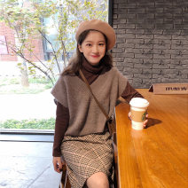 Dress Winter of 2019 S M L XL Mid length dress Three piece set Long sleeves commute High collar High waist lattice Socket A-line skirt routine 18-24 years old Type A Love fame and elegance Korean version Splicing More than 95% knitting other Other 100% Pure e-commerce (online only)