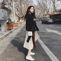 Dress Autumn of 2018 Sweater + skirt S M L XL longuette Two piece set Long sleeves commute Crew neck High waist Solid color Socket Pleated skirt routine Others 18-24 years old Love fame and elegance Korean version More than 95% other Other 100% Pure e-commerce (online only)