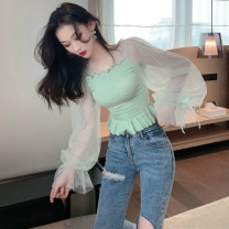 Lace / Chiffon Spring 2020 Apricot, grey, green, lotus root, black Average size Long sleeves Versatile Socket singleton  Self cultivation Super short other other pagoda sleeve 18-24 years old 51% (inclusive) - 70% (inclusive) polyester fiber