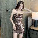 Dress Summer 2020 Leopard Print S,M,L Short skirt Short sleeve Sweet One word collar middle-waisted One pace skirt Hanging neck style 18-24 years old chain 30% and below other acrylic fibres