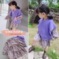 Dress Floral skirt, purple vest female Other / other 90cm,100cm,110cm,120cm,130cm,140cm Other 100% spring and autumn Korean version Long sleeves Broken flowers cotton A-line skirt