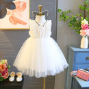 Dress White cotton upgrade female Other / other 90cm,100cm,110cm,120cm,130cm,140cm,150cm,160cm Other 100% summer Korean version Skirt / vest cotton A-line skirt