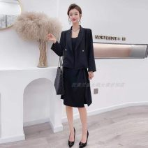 Women's large Spring 2021 Black coat + suspender skirt, white coat + suspender skirt 3XL suits 130-155 Jin, 4XL suits 155-170 Jin, 5XL suits 170-190 Jin, 6xl suits 190-220 Jin Jacket / jacket Two piece set commute easy moderate Cardigan Long sleeves Solid color Korean version routine routine