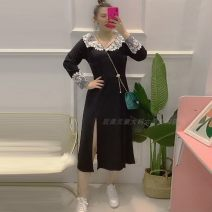 Women's large Spring 2021 black 3XL is suitable for 120-140 kg, 4XL is suitable for 155-170 kg, 5XL is suitable for 170-190 kg, and 6xl is suitable for 190-220 kg Dress singleton  commute easy Socket Long sleeves Solid color Korean version V-neck routine Polyester, cotton Three dimensional cutting