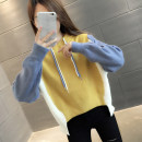 Sweater / sweater Autumn 2020 Blue + yellow green + beibai Yellow + Blue + beibai S M L XL Long sleeves routine Socket singleton  routine Hood easy commute routine Color matching 96% and above You've got to go Korean version other A06188 printing Other 100%