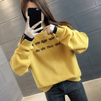 Sweater / sweater Winter 2020 Watermelon Red Navy Blue Velvet yellow velvet watermelon red velvet White Velvet navy blue yellow white S M L XL Long sleeves routine Socket singleton  routine Crew neck easy commute routine letter 18-24 years old 96% and above You've got to go Korean version other