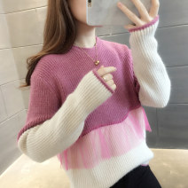 sweater Autumn 2020 S M L XL Blue Pink Black Long sleeves Socket singleton  Regular other 95% and above Crew neck Regular routine stripe Straight cylinder Regular wool Keep warm and warm 18-24 years old You've got to go A04641 Splicing Other 100% Pure e-commerce (online only)