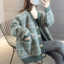 Wool knitwear Autumn 2020 S M L XL Khaki Green Red Blue Long sleeves singleton  Cardigan other More than 95% Regular routine commute easy V-neck routine stripe Single breasted Korean version A06105 You've got to go Pocket screw button Other 100%