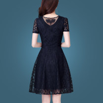 Dress Summer of 2019 Black (18 days in advance) M,L,XL,2XL,3XL,4XL Middle-skirt singleton  Short sleeve commute Crew neck middle-waisted Solid color Socket A-line skirt routine Others 35-39 years old Type A Korean version Hollow out, embroidery, Gouhua, hollow out, splicing, zipper, lace Lace