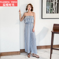 Casual pants Blue and white stripes S M L Autumn of 2018 trousers Jumpsuit High waist Sweet routine warming timne Lotus leaf edge Polyester 100% Bohemia