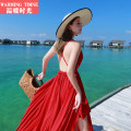 Dress Winter of 2018 Red (with chest patch) Navy (with chest patch) S M L longuette singleton  Sleeveless Sweet V-neck High waist Solid color Socket Big swing other camisole 25-29 years old warming timne Open back bandage More than 95% Chiffon polyester fiber Polyester 100% Bohemia