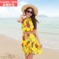 Dress Summer 2015 Yellow (with belt) blue (with belt) orange (with belt) M L Short skirt singleton  Sleeveless Sweet Crew neck Loose waist other Socket A-line skirt routine Others 25-29 years old warming timne Bandage printing Bohemian beach skirt More than 95% Chiffon polyester fiber Polyester 100%