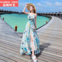 Dress Spring 2017 Picture color (for Blue Earrings) orange flowers (for Pink Earrings) L XL S M longuette singleton  Sleeveless Sweet V-neck Elastic waist Abstract pattern Socket Irregular skirt routine camisole 25-29 years old warming timne Backless printing R-8828 More than 95% Chiffon Bohemia