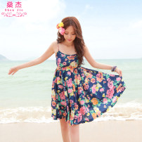 Dress Summer of 2019 Pink flowers (buy 2 get 1 free) blue flowers (buy 2 get 1 free) M L Mid length dress singleton  Sleeveless Sweet Crew neck High waist Decor Socket other other camisole 25-29 years old Type A Shen Jie printing YDF66781 More than 95% polyester fiber Polyester 100% Bohemia