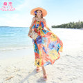 Dress Summer of 2019 Orange and blue flowers M longuette singleton  Sleeveless Sweet Crew neck High waist Decor Socket Big swing other camisole 25-29 years old Shen Jie printing YDF*5219 More than 95% polyester fiber Polyester 100% Bohemia