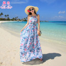 Dress Summer of 2019 Green flowers (buy 2 get 1 free) blue flowers (buy 2 get 1 free) S M L longuette singleton  Sleeveless Sweet other middle-waisted Decor Socket Big swing other camisole 25-29 years old Shen Jie printing YDF * 6881 blue flower More than 95% polyester fiber Polyester 100% Bohemia