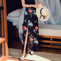 skirt Summer of 2019 M L S longuette Sweet High waist A-line skirt Broken flowers 25-29 years old More than 95% Shen Jie polyester fiber printing Polyester 100% Bohemia
