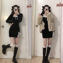 Dress Winter 2020 Skirt, coat Average size Short skirt Two piece set Long sleeves commute V-neck High waist Solid color Socket One pace skirt routine 18-24 years old Type A Splicing polyester fiber