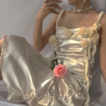 Dress 51% (inclusive) - 70% (inclusive) polyester fiber Summer 2021 Silk and satin Medium length skirt singleton  Sleeveless commute Straight collar Other / other High waist other Condom Irregular skirt routine 18-24 years old camisole Type H court 3D, asymmetry, fold, three-dimensional decoration