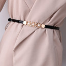 Belt / belt / chain Pu (artificial leather) White, black, red, gold, silver, sapphire blue, camel, style 1 oval deduction, style 2 leaf pearl, style 3 one pearl, style 4 double circle, style 5 two pearls, style 6 small windmill, style 7 water drop deduction female belt Versatile Single loop a hook